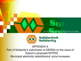 APPENDIX A Part of Solidarity's submission to NERSA on the issue of Eskom's proposed MYPD2