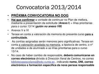 Convocatoria 2013/2014