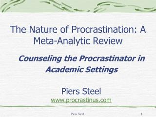 The Nature of Procrastination: A Meta-Analytic Review