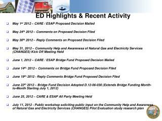 ED Highlights & Recent Activity
