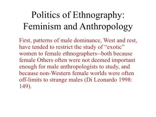 Politics of Ethnography: Feminism and Anthropology
