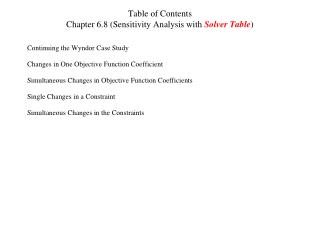 Table of Contents Chapter 6.8 (Sensitivity Analysis with  Solver Table )