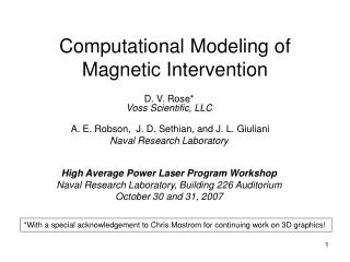 Computational Modeling of Magnetic Intervention