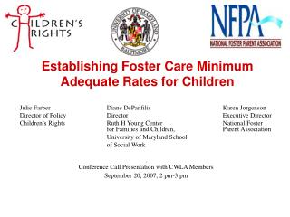 Establishing Foster Care Minimum Adequate Rates for Children