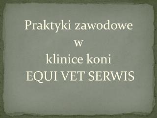 Praktyki zawodowe  w  klinice koni  EQUI VET SERWIS