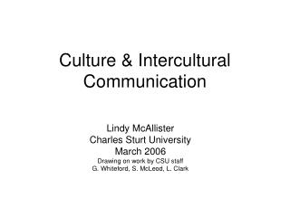 Culture  Intercultural Communication