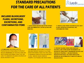 STANDARD PRECAUTIONS FOR THE CARE OF ALL PATIENTS