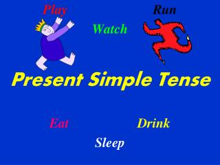Play Run Watch Present Simple Tense Eat Drink Sleep