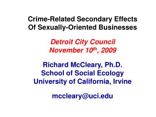 Crime-Related Secondary Effects Of Sexually-Oriented Businesses Detroit City Council