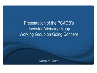 Presentation  of  the PCAOB's  Investor Advisory Group  Working  Group on Going  Concern