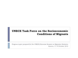 UNECE Task Force on the Socioeconomic Conditions of Migrants