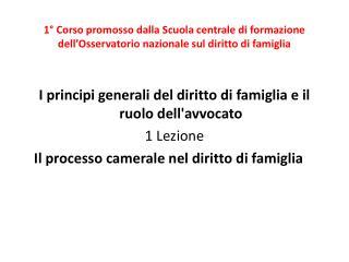 I principi generali del diritto di famiglia e il ruolo dell'avvocato 1  Lezione