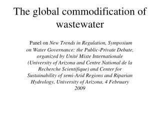 The global commodification of wastewater