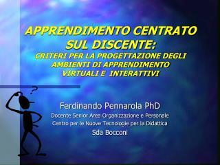 Ferdinando Pennarola PhD Docente Senior Area Organizzazione e Personale