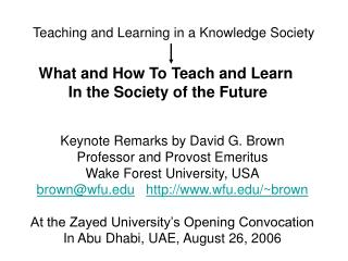 Teaching and Learning in a Knowledge Society