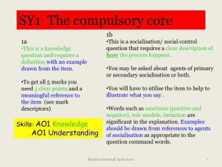 SY1  The compulsory core
