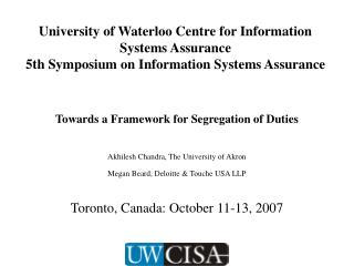 Towards a Framework for Segregation of Duties