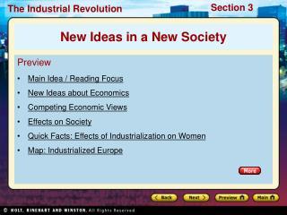 Preview Main Idea / Reading Focus New Ideas about Economics Competing Economic Views