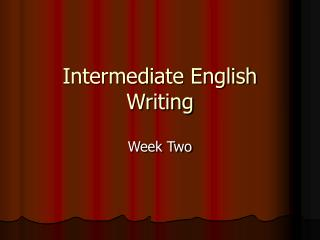 Intermediate English Writing