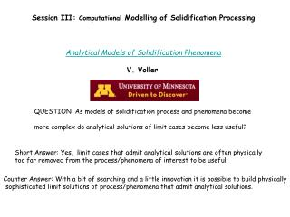 Session III:  Computational  Modelling of Solidification Processing