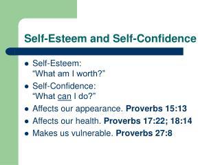 Self-Esteem and Self-Confidence