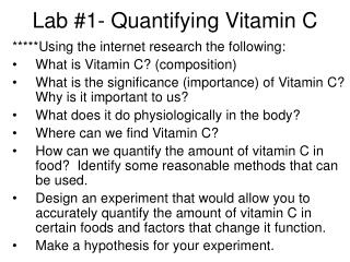 Lab #1- Quantifying Vitamin C