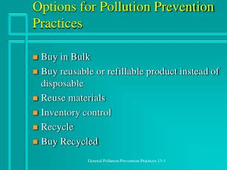 Options for Pollution Prevention Practices