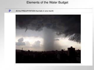 Elements of the Water Budget