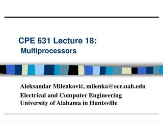 CPE 631 Lecture 18:  Multiprocessors