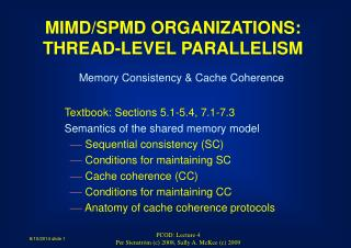 Memory Consistency & Cache Coherence