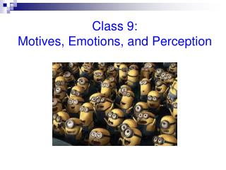 Class 9:                                       Motives, Emotions, and Perception