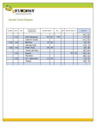 Sample Check Register