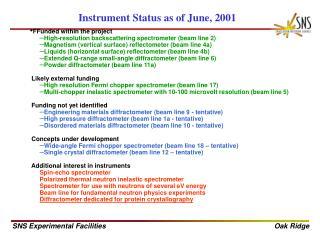 Instrument Status as of June, 2001