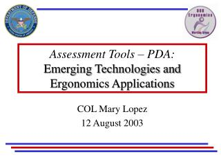 Assessment Tools – PDA: Emerging Technologies and Ergonomics Applications
