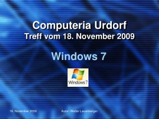 Computeria Urdorf Treff vom  18. November 2009