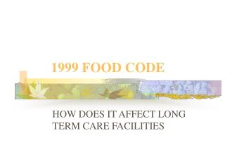 1999 FOOD CODE