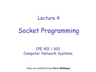Lecture 4 Socket Programming
