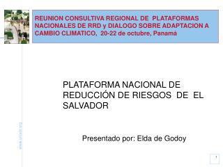 PLATAFORMA NACIONAL DE REDUCCIÓN DE RIESGOS  DE  EL SALVADOR