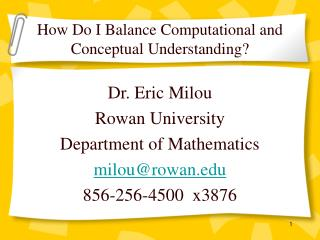 How Do I Balance Computational and Conceptual Understanding?