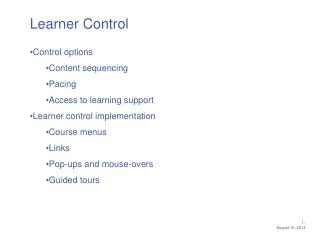 Learner Control