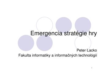 Emergencia strat � gie hry