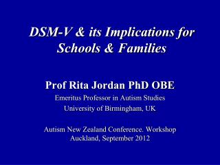 DSM-V & its Implications for Schools & Families