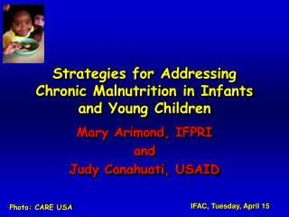 Strategies for Addressing Chronic Malnutrition in  Infants and Young Children