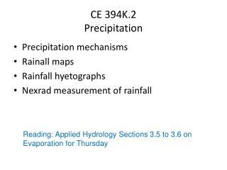CE 394K.2  Precipitation