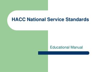 HACC National Service Standards