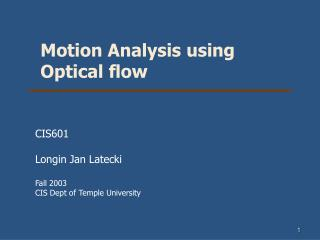 Motion Analysis using Optical flow