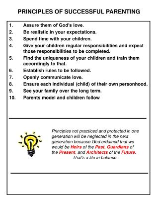PRINCIPLES OF SUCCESSFUL PARENTING