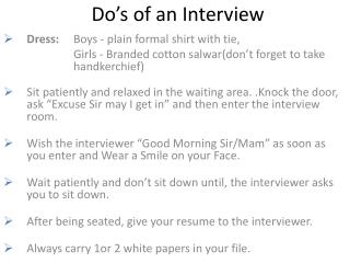 Do�s of an Interview