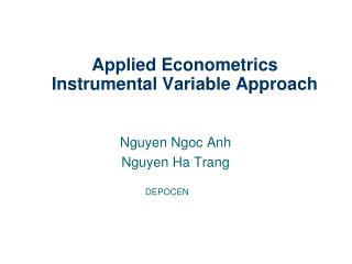 Applied Econometrics Instrumental Variable Approach