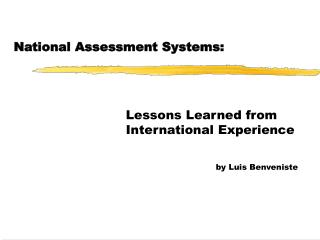 National Assessment Systems: